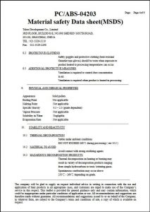 MSDS-PC+ABS Certificate