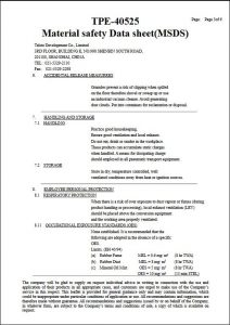 MSDS-SEBS+PP Certificate